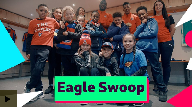 Our dancers do the Eagle Swoop with Crystal Palace FC